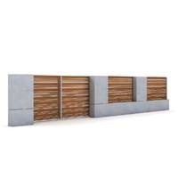 3d model concrete fence gate