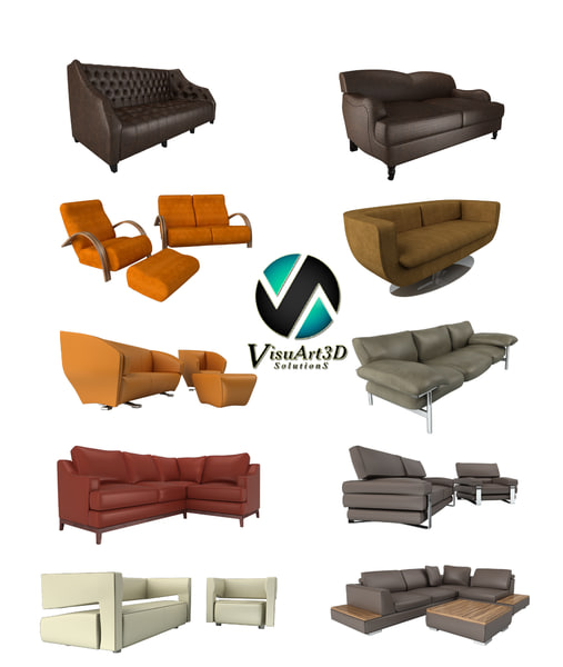 modern sofas couches 3ds