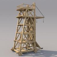 3d model medieval siegetower