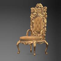 obj carved armchair