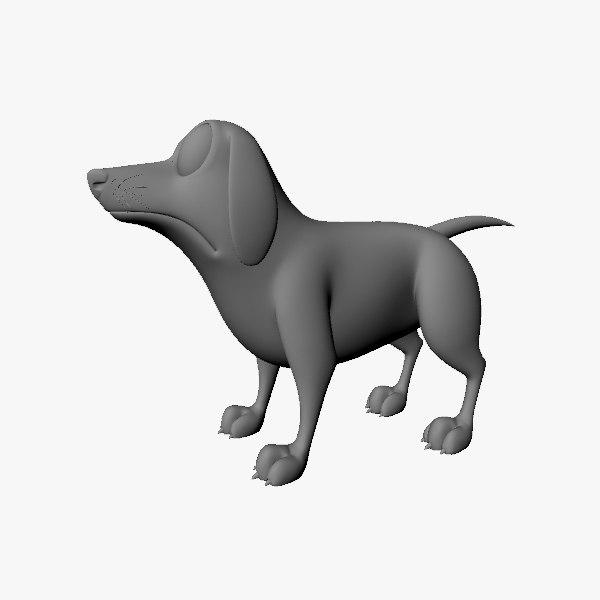 3d cartoon terrier animal model