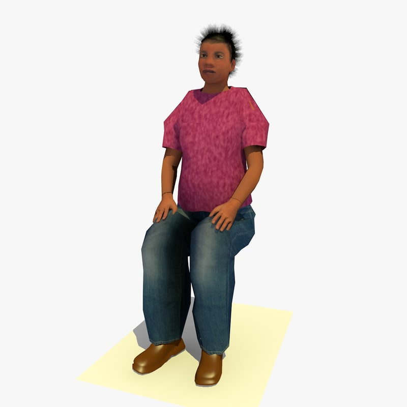realistically seated african female body 3d model