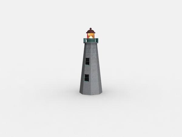 old point comfort lighthouse 3d model