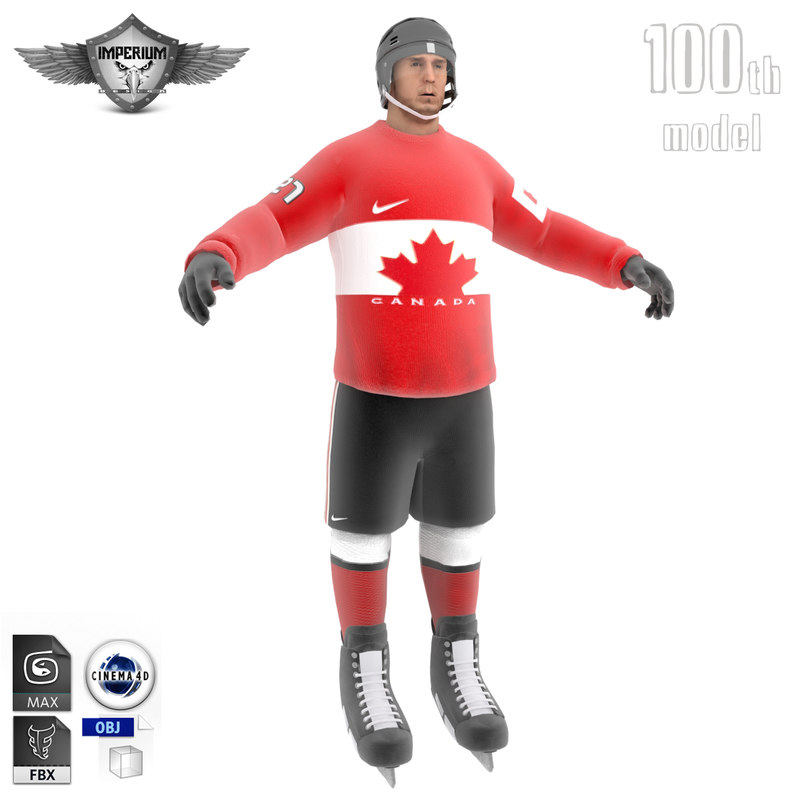 ice hockey player canada 3d model
