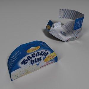 cheese cardboard paper box 3d model
