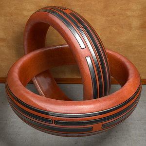 3d ring wood metal model