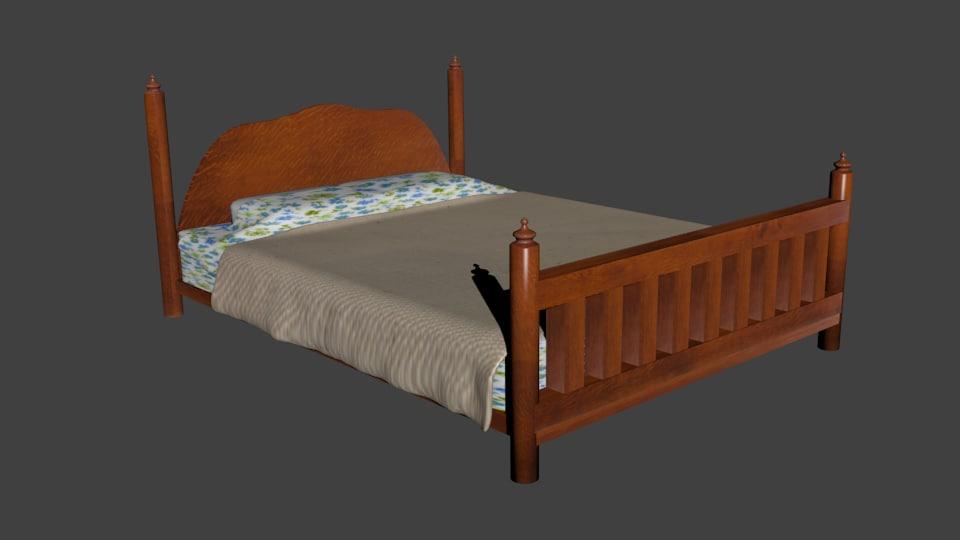 adult bed 3d model