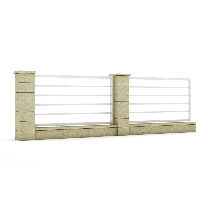 3d model of concrete fence