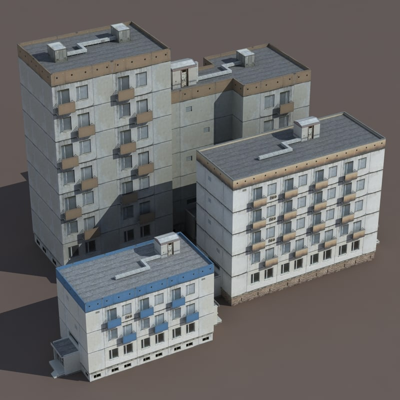 residential building 3d 3ds