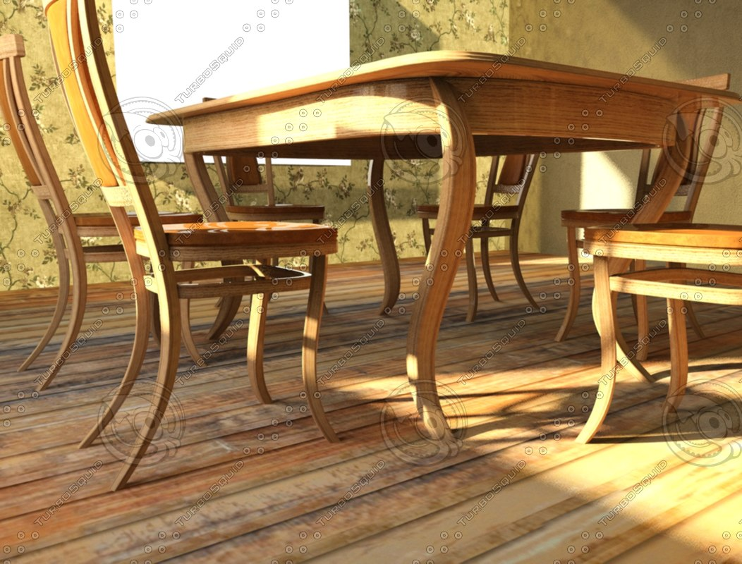 3d model of table chairs