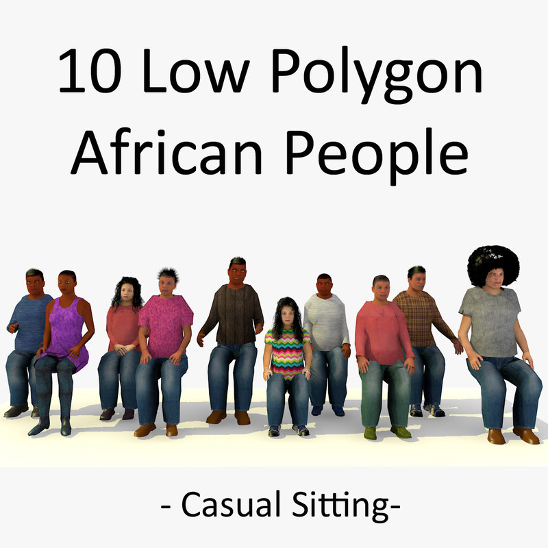 3d seated african characters