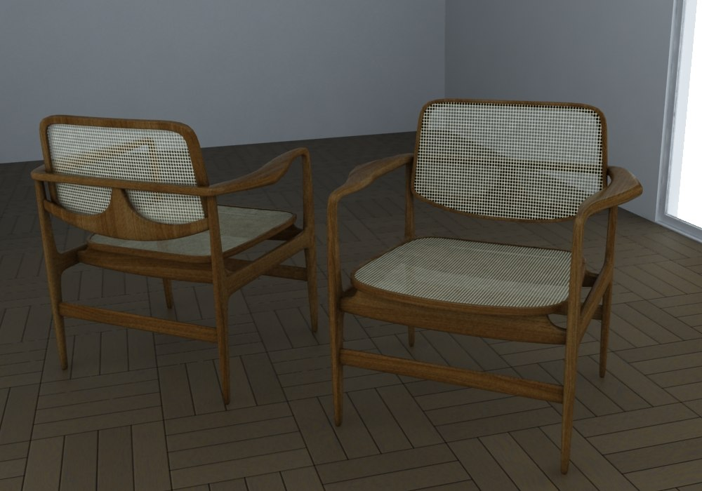 chair armchair mid-century 3ds