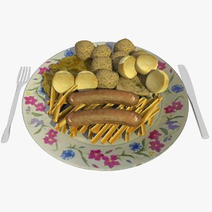 3d food omlet dish chips