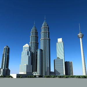 petronas towers 3d model