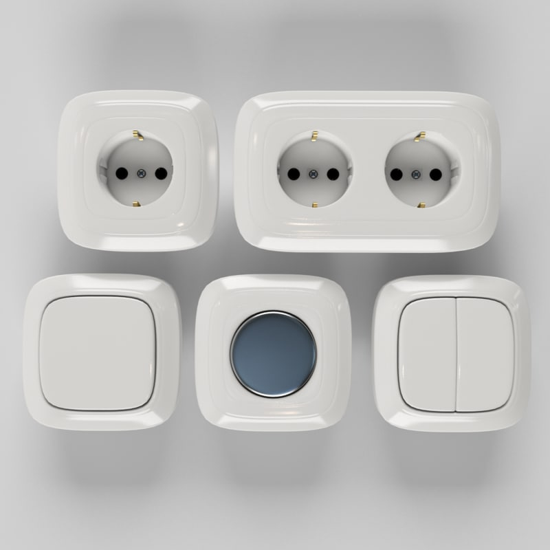 3ds max plug sockets switches