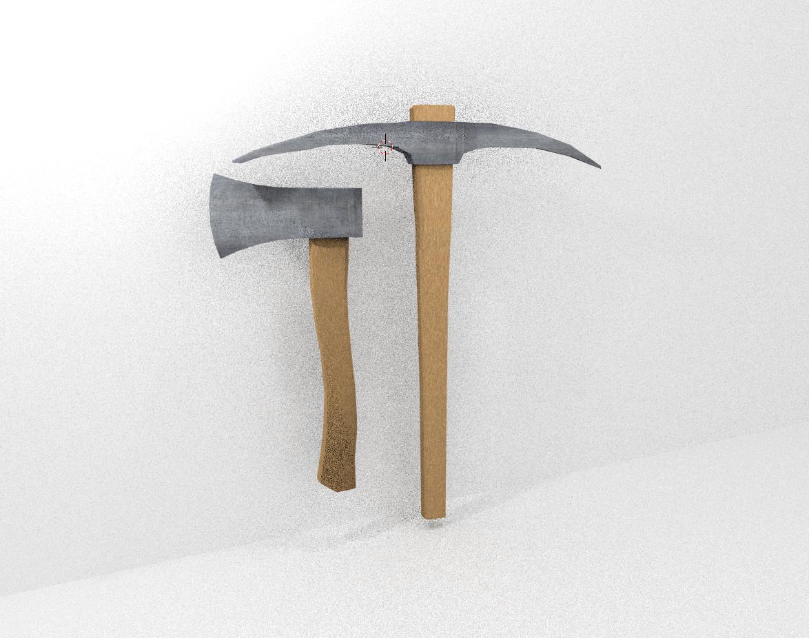 pickaxe hatchet 3d obj