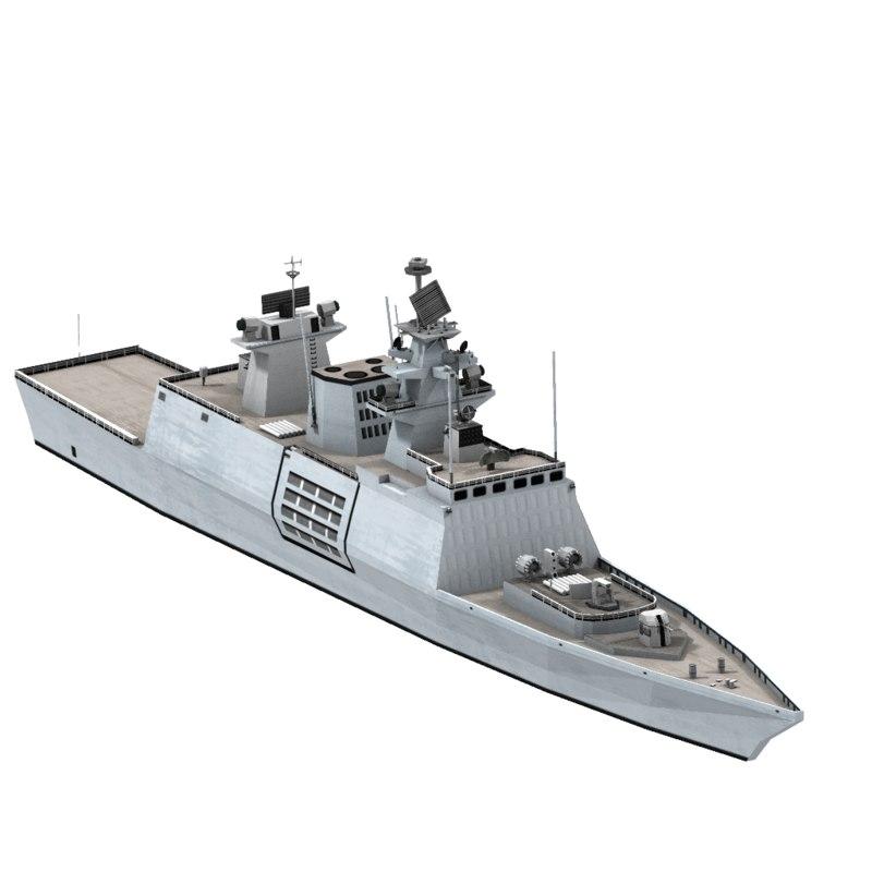 shivalik indian navy frigate ship 3d obj