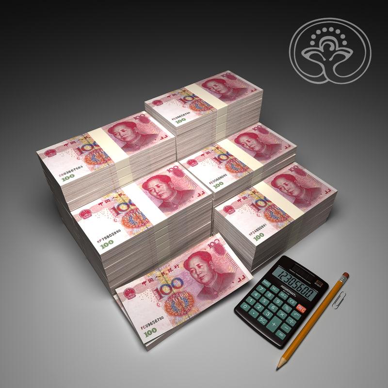 money 100 yuan 3d model