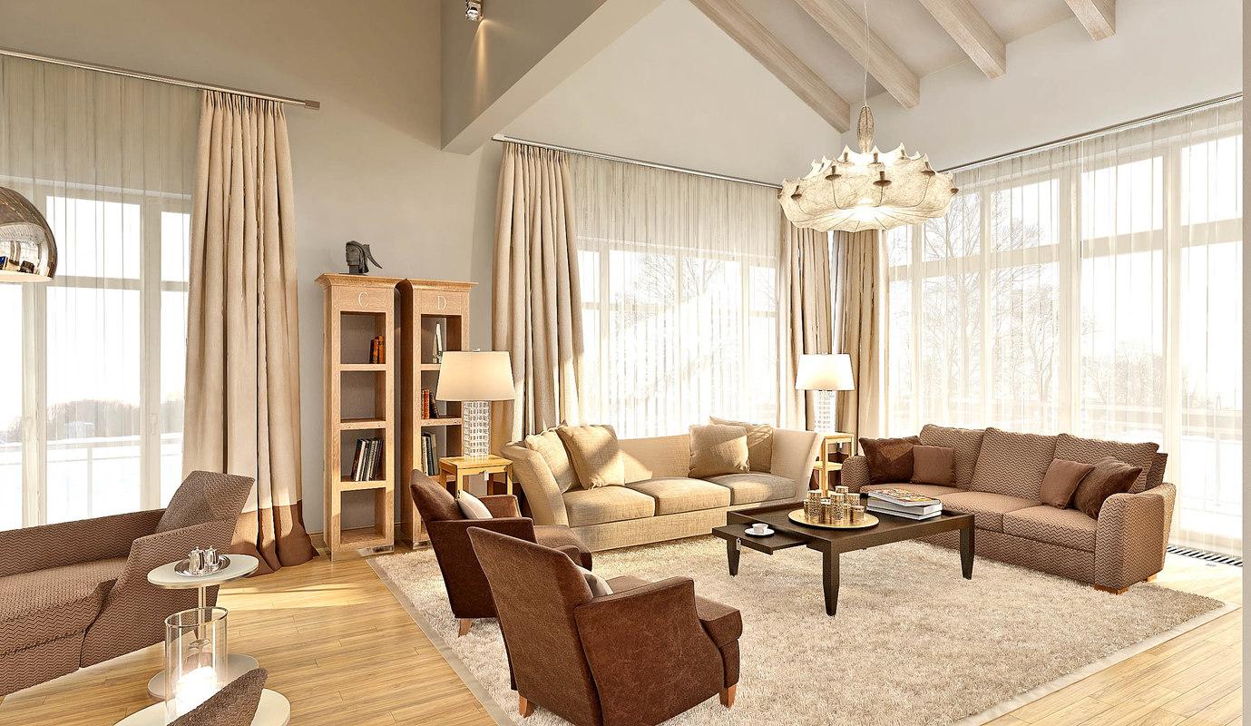 3d model of big scene liveroom cottage
