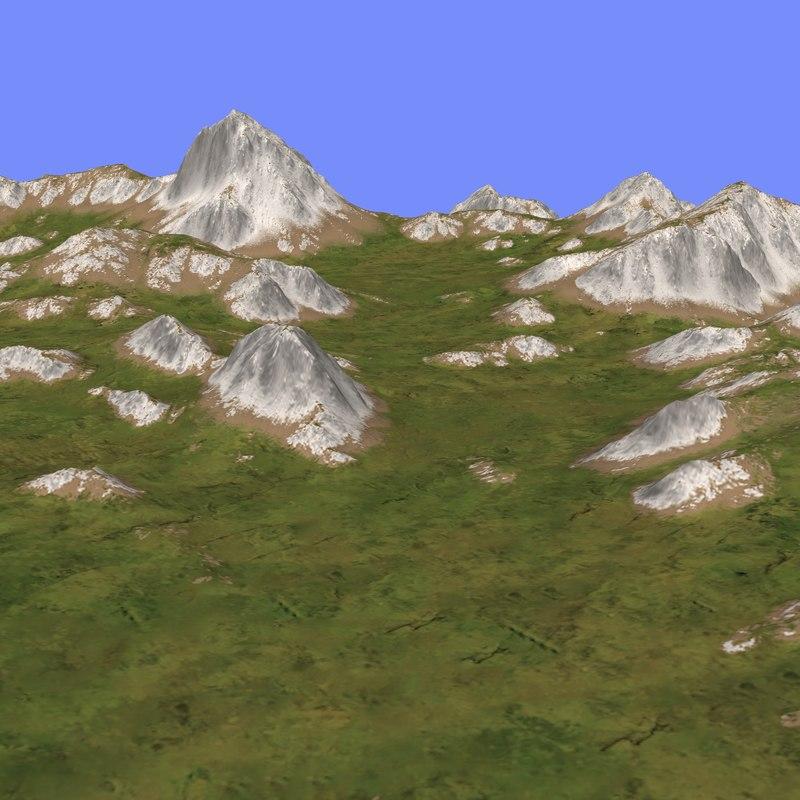3d model grassy terrain tm1-03