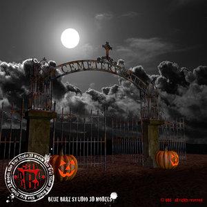 3d model gate graveyard