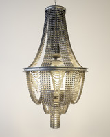chandelier made of bicycle chains