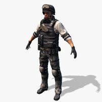 Real-Time SWAT Soldier CAT Rigged