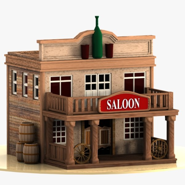cartoon western building 3d model
