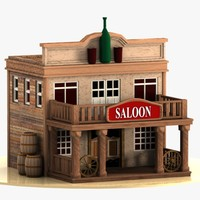 cartoon western building 3d model