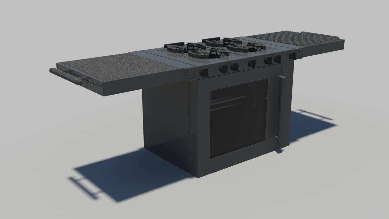 portable grill 3d model