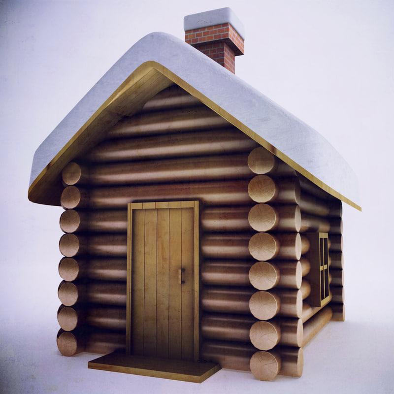 3d model of winter wood cabin