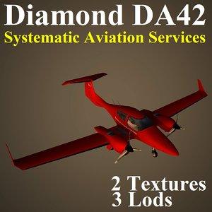 diamond da42 svc airplane 3d model