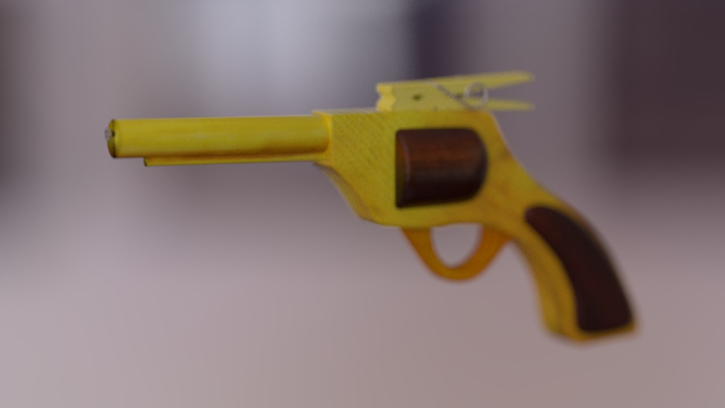 3d model of rubber band revolver