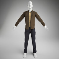 men clothes- pants vest 3d model