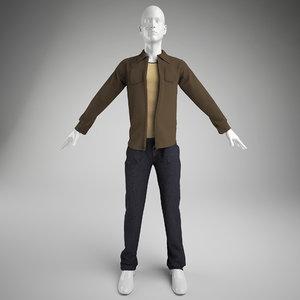 men clothes- pants vest 3d model