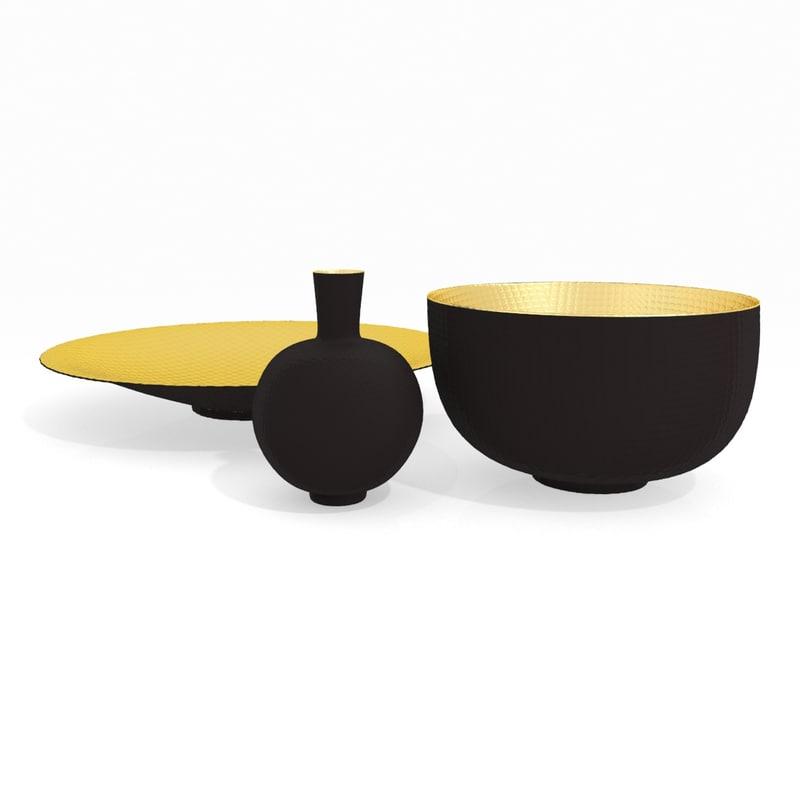 vase bowl plate set 3d model