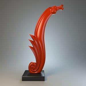 3d sea horse sculpture model