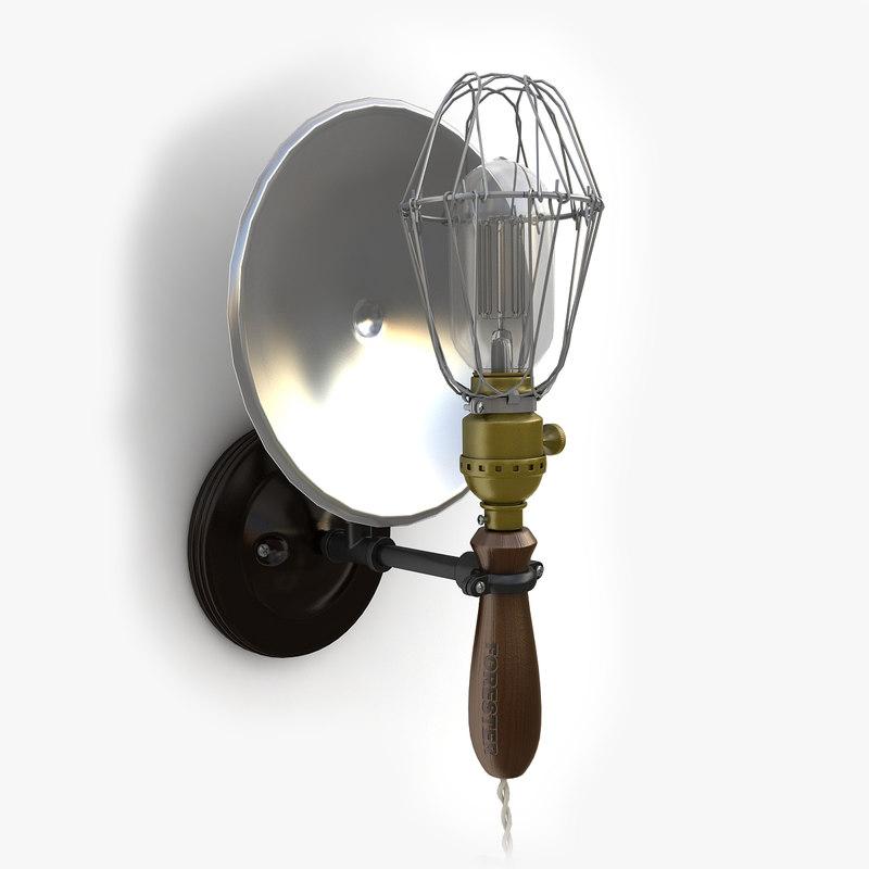 3d retro industrial lamp 01 model