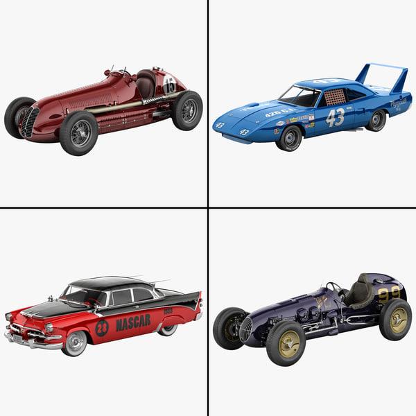 3d model of retro racing cars