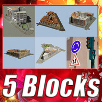 3d model european 5 city blocks
