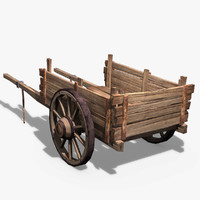 wooden cart obj