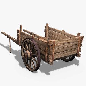 wooden cart obj