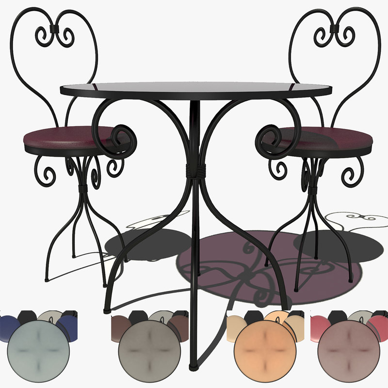 free 3ds model forged table stools chair