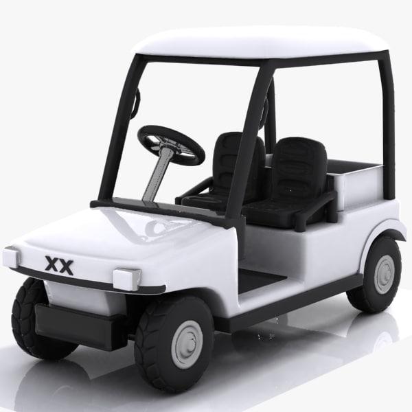 cartoon golf car 3d model
