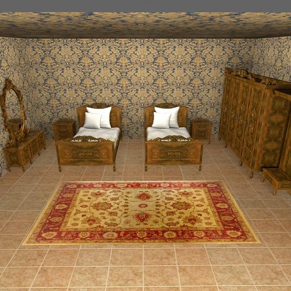 antique bedroom 3d obj