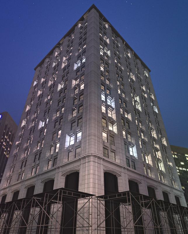 city apartment office building 3d obj