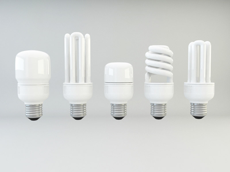 energy efficient cfl light bulbs 3d model