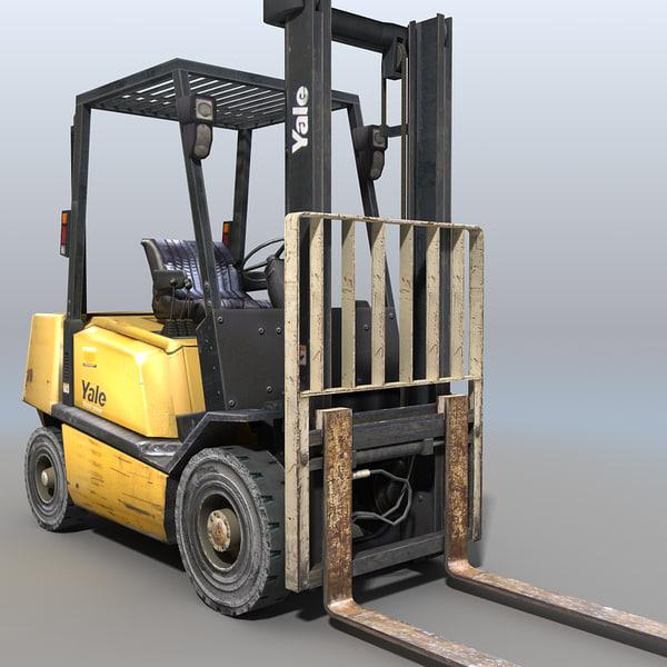 forklift crane trucks 3d model