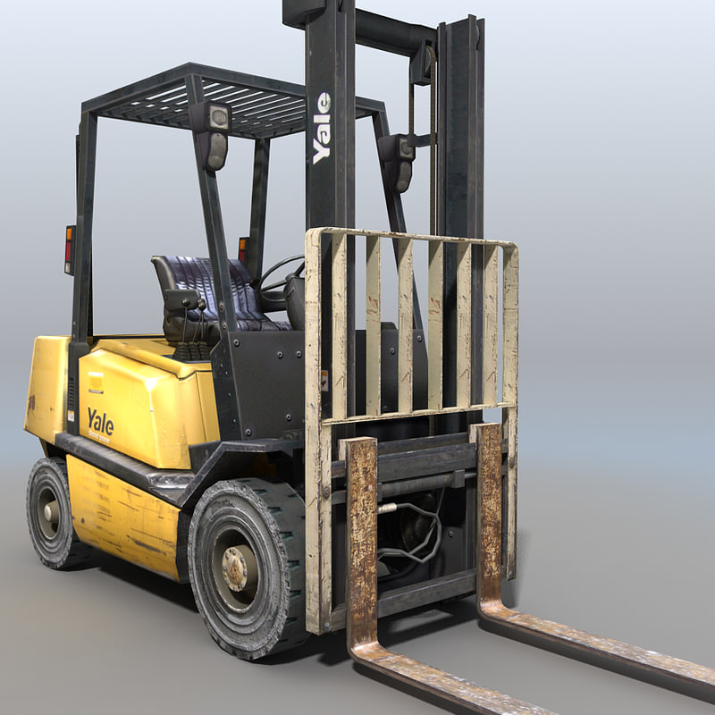 forklift crane trucks 3d model