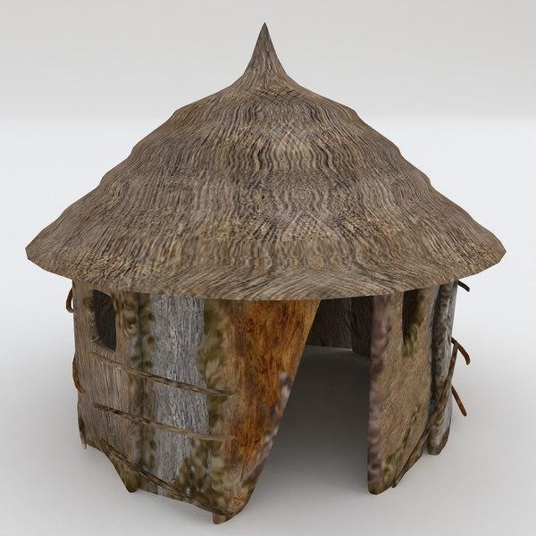 3d model of tropical hut